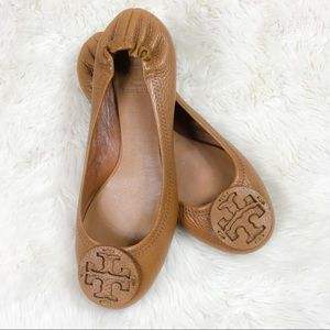Tory Burch Reva Ballet Flats Tan Tumbled Leather